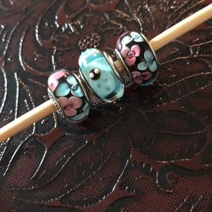 Used Pandora blue pink glass 3 charms